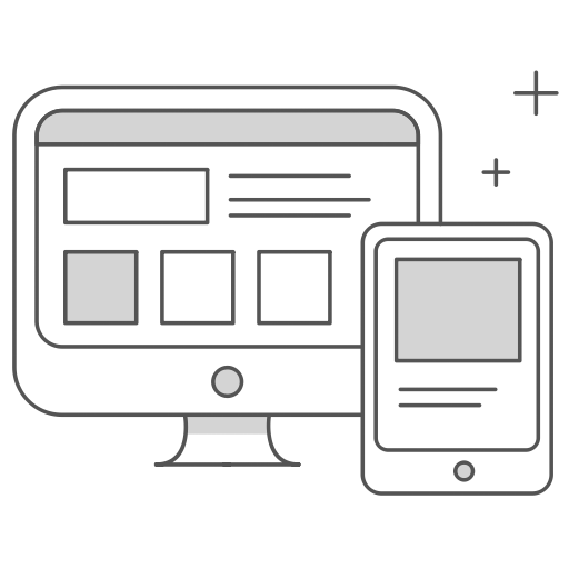 web design wireframe on mac and iPhone